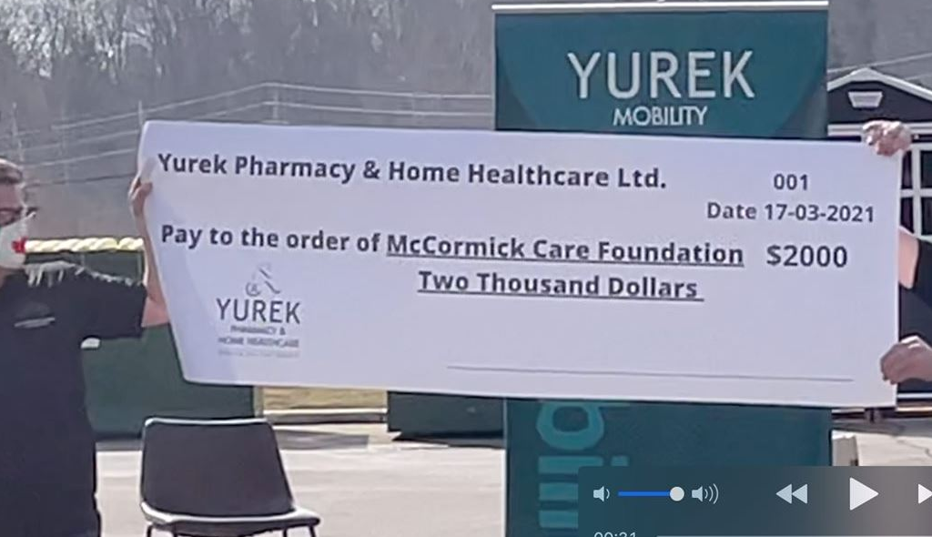 Yurek Pharmacy Cheque To The McCormick Care Foundation.
